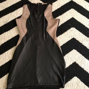 Faux leather Black and Tan dress